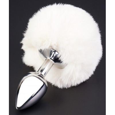 Серебристая анальная втулка с пушистым белым хвостом